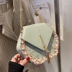Skyglow(スカイグロウ) - Faux Pearl Floral Embroidered Chain Crossbody Bag