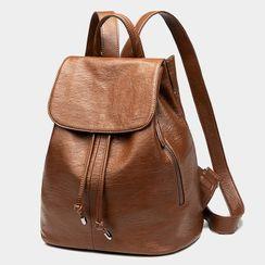 AIDO - Genuine Leather Flap Backpack