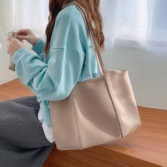 Barba - 套装: 纯色仿皮手提袋 + 拉链小袋