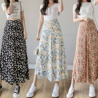 Termane - Floral Print Midi A-Line Skirt
