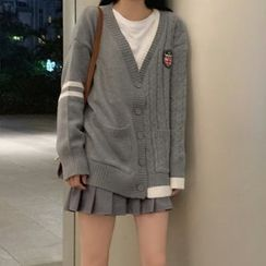 KAKAGA - Applique Knitted Cardigan / Pleated A-Line Skirt / Long Sleeve Plain T-Shirt