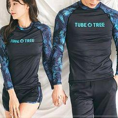 Binoche(ビノシュ) - Couple Matching Set: Rash Guard + Swim Shorts