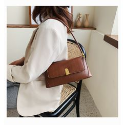 Nautilus Bags - Croc Grain Faux Leather Shoulder Bag
