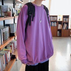 JUN.LEE - Round Neck Plain Sweatshirt