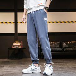 Aamon - High-Waist Drawstring Applique Sweatpants