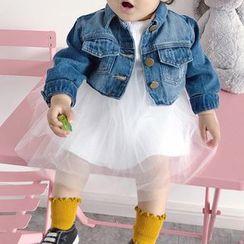 MOM Kiss - Kids Cropped Denim Jacket / Mesh Panel Long-Sleeve Dress