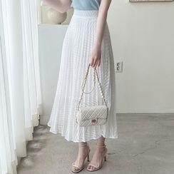 MyFiona - Herringbone Long Pleated Skirt