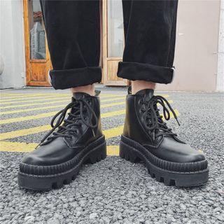 Tanzanite - Platform Lace-Up Short Boots