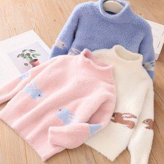 Seashells Kids - Kids Mock-Neck Rabbit Sweater