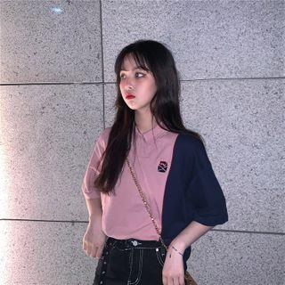 Guromo - Color Block Short-Sleeve Polo Shirt
