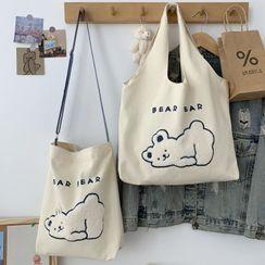 kissogram - Bear Embroidered Canvas Tote Bag