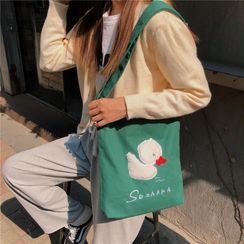 Milha - Duck Embroidered Canvas Tote Bag / Hand Bag