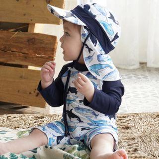 Aqua Wave - Baby Printed Long-Sleeve Rashguard  / Swim Goggles / Ear Plugs / Nose Clip / Drawstring Organizer Bag / Swim Cap / Set
