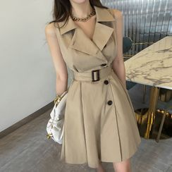 DABAGIRL - Sleeveless Belted Trench Coatdress