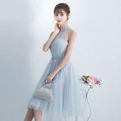 Destine - Embellished Halter Cocktail Dress