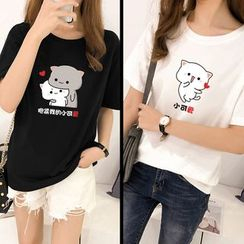 Carmenta - Couple Matching Short-Sleeve Cartoon Printed T-Shirt