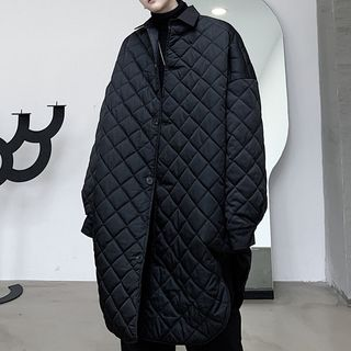 ANCHO - 菱格夾棉長款派克大衣