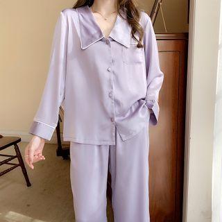 PinkRosa - Pajama Set: Long-Sleeve Plain Top + Pants