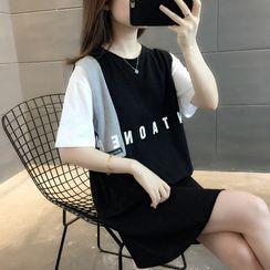 Ageha - Short-Sleeve Lettering T-Shirt Dress
