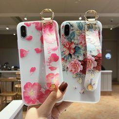 Quivier - Floral Print Phone Case with Strap - iPhone 6 / 6 Plus / 6S / 6S Plus / 7 / 7 Plus / 8 / 8 Plus / X / XS / XS Max / XR / 11 / 11 Pro / 11 Pro Max