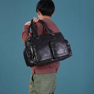 Bagsuki - Faux Leather Dual Pockets Duffel Bag