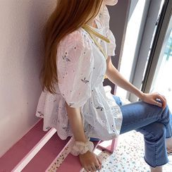 Cherryville - Puff-Sleeve Eyelet-Lace Blouse