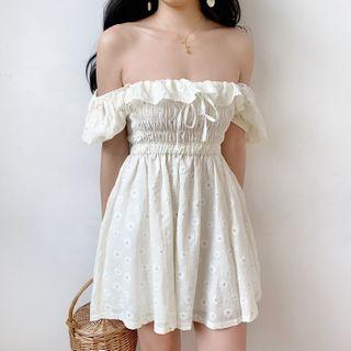 Sinora - Flower Detail Off-Shoulder Mini A-Line Dress