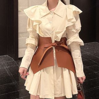 Attune - Plain Shirtdress / Faux Leather Belt