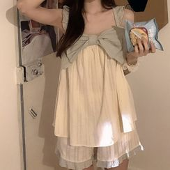 Pandelia - Bow-Accent Pajama Dress / Pajama Set: Bow-Accent Top + Shorts