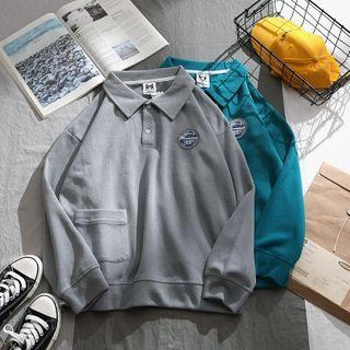 OSIGRANDI - Long-Sleeve Patched Polo Sweatshirt