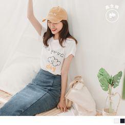 OrangeBear - 好心情雲朵印圖竹節棉T恤/上衣
