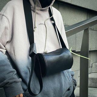 SUNMAN - Faux Leather Barrel Crossbody Bag