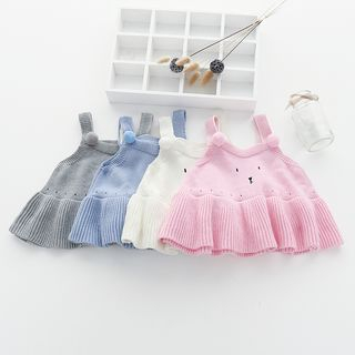 MOM Kiss - Baby Sleeveless Embroidered Knit Dress