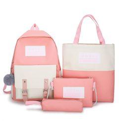Tango Sky - 四件套装: 帆布背包 + 斜挎包 + 笔袋 + 手提袋