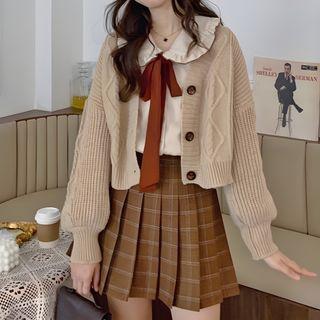 AKANYA - Cardigan / Tie-Neck Blouse / Plaid Pleated Skirt