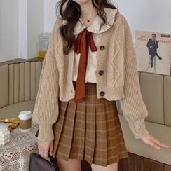 AKANYA - Cardigan / Tie-Neck Blouse / Plaid Pleated Skirt