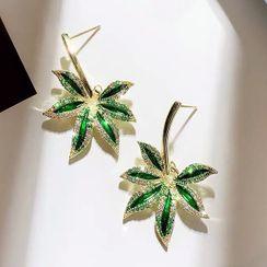 Catalunya - Rhinestone Leaf Dangle Earring
