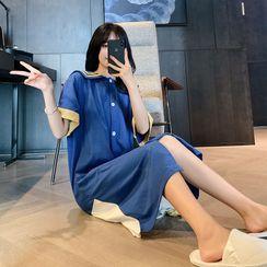 Endormi - Short-Sleeve Sailor Collar Pajama Dress