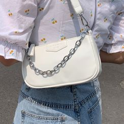 Kunado - Faux Leather Chained Shoulder Bag