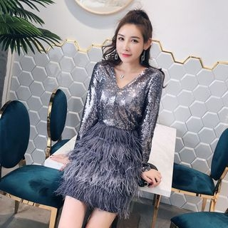 Waltzer - Long-Sleeve Sequined Panel Dress