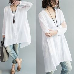 MOGGU - V-Neck Long-Sleeve Tunic T-Shirt