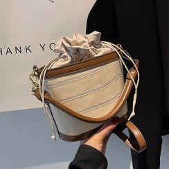 JAMEL - Croc Grain Drawstring Bucket Bag