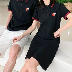 Tabula Rasa - Couple Matching Short-Sleeve Heart Print Collared T-Shirt / T-Shirt Dress / Shorts