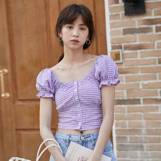 Lady Jean - Plaid Short-Sleeve Top