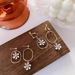 HayHill - Non-matching Alloy Flower Earring