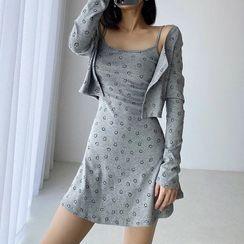 Reknovine - Set: Long-Sleeve Smiley Face Print Button-Up T-Shirt + Spaghetti Strap Mini A-Line Dress