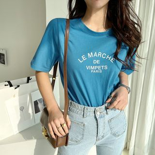 NANING9 - Letter Print Color T-Shirt