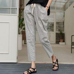JUSTONE - Check / Stripe Drawstring Baggy Pants