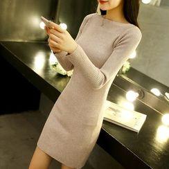 Norte - Plain Long Sleeve Knit Dress