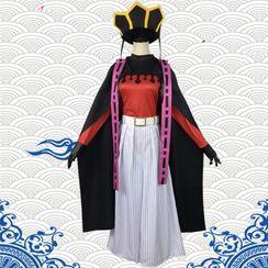 Mikasa - Demon Slayer: Kimetsu no Yaiba Upper Moon Two Doma Cosplay Costume / Wig